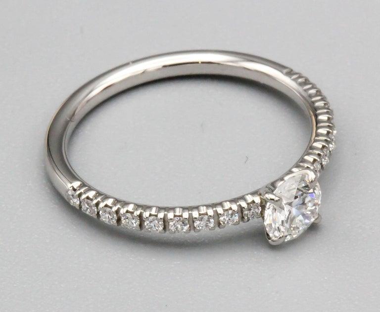 Cartier .30 Carat E VS1 Diamond and Platinum Engagement Ring For Sale 6