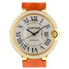 Cartier 3002 Ballon Bleu 18 Karat Yellow Gold Factory Diamond Bezel Watch