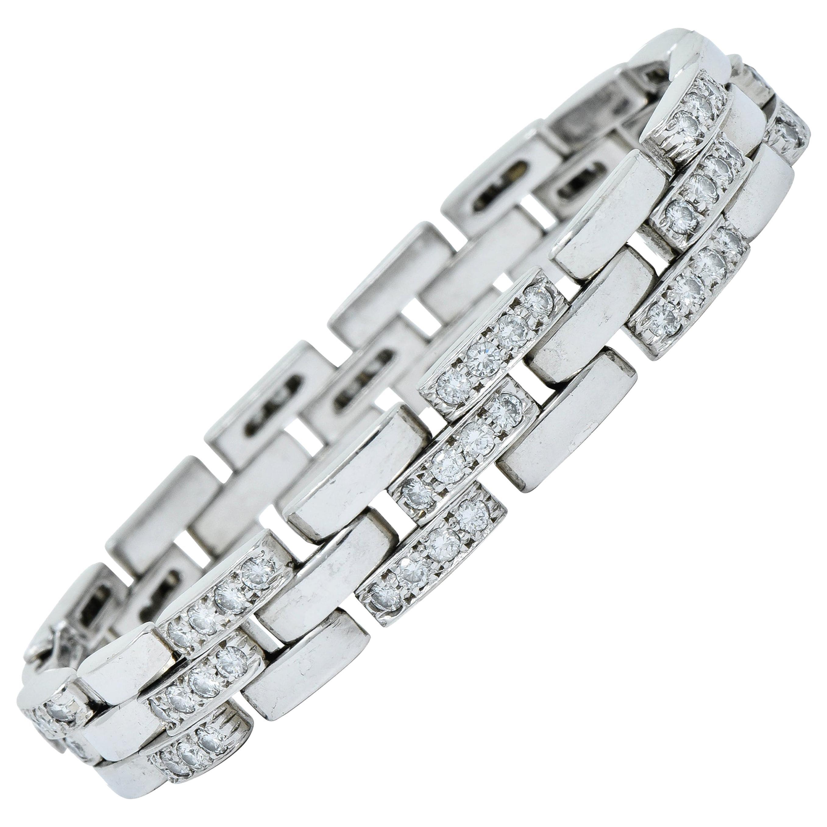 Cartier 3.36 Carat Diamond Maillon Panthere 18 Karat White Gold Link Bracelet