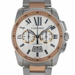 Cartier 3578 Calibre Chronograph 18 KT Rose & Steel W7100042 Swiss Automatic