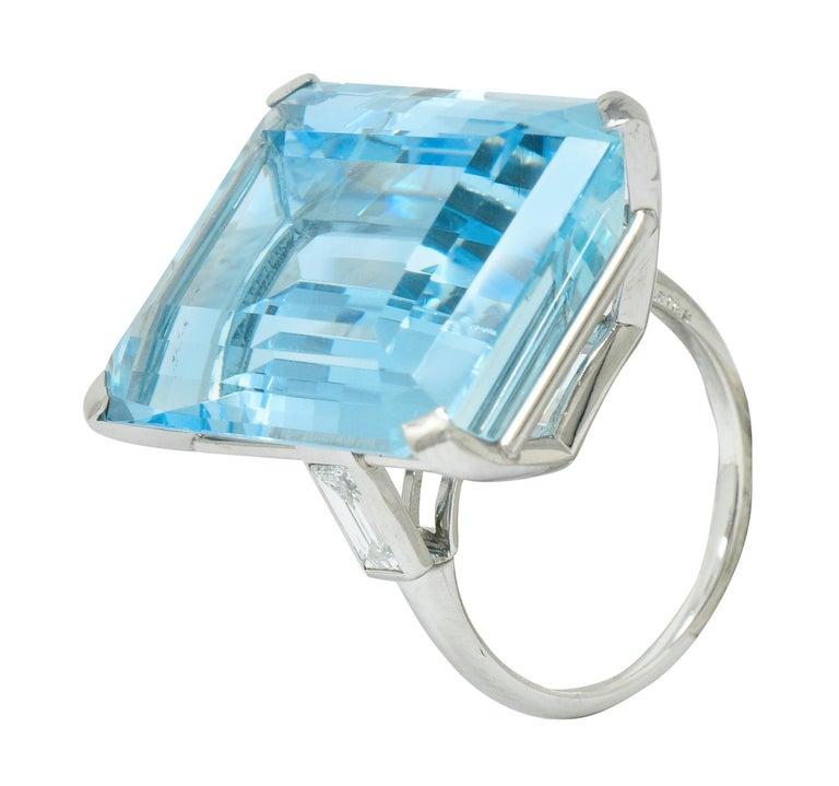 Cartier 36.09 Carat Aquamarine Diamond Platinum Retro Cocktail Ring For Sale 5
