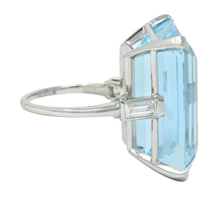 Emerald Cut Cartier 36.09 Carat Aquamarine Diamond Platinum Retro Cocktail Ring For Sale