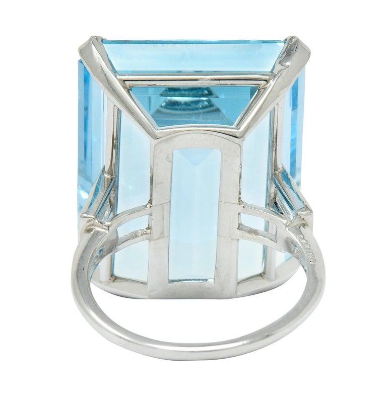 Cartier 36.09 Carat Aquamarine Diamond Platinum Retro Cocktail Ring In Excellent Condition For Sale In Philadelphia, PA