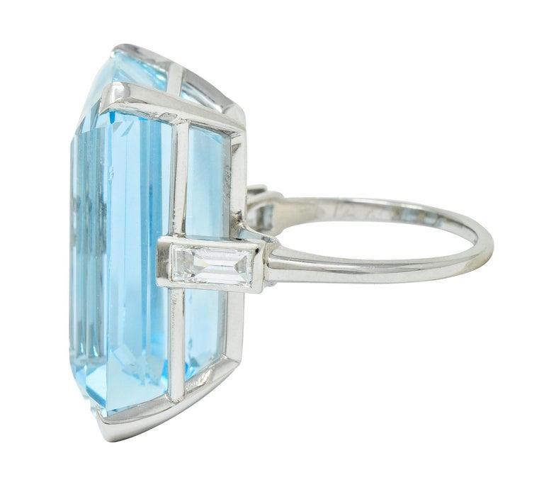 Women's or Men's Cartier 36.09 Carat Aquamarine Diamond Platinum Retro Cocktail Ring For Sale