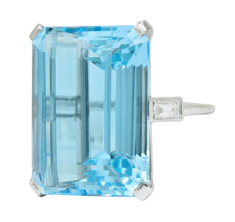 Cartier 36.09 Carat Aquamarine Diamond Platinum Retro Cocktail Ring For Sale 1