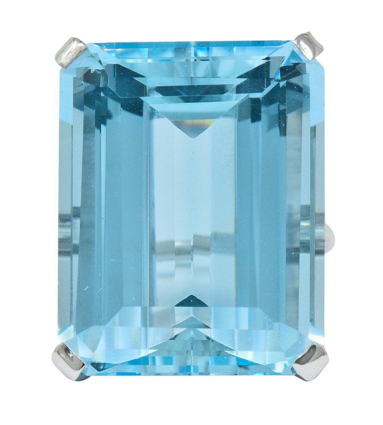 Cartier 36.09 Carat Aquamarine Diamond Platinum Retro Cocktail Ring For Sale 3