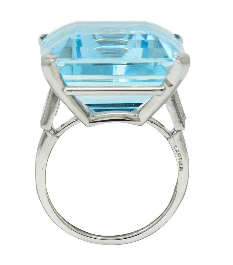 Cartier 36.09 Carat Aquamarine Diamond Platinum Retro Cocktail Ring For Sale 4