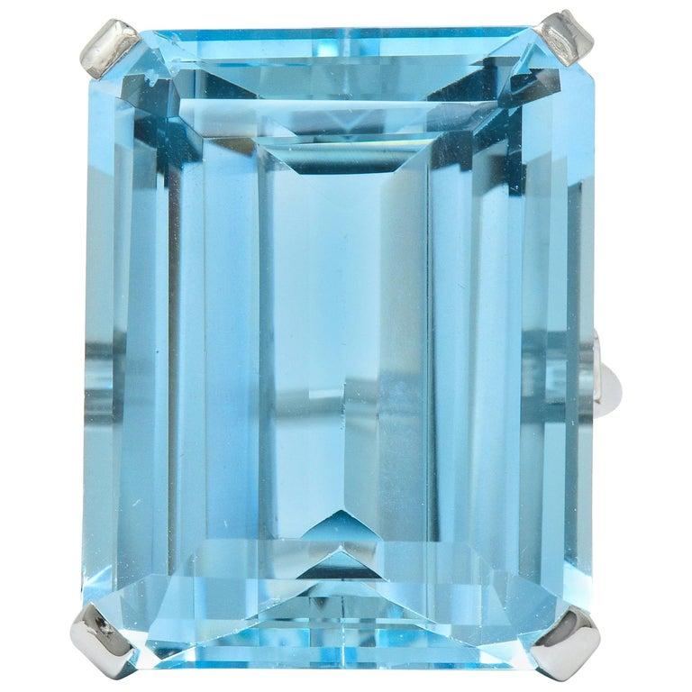 Cartier 36.09 Carat Aquamarine Diamond Platinum Retro Cocktail Ring For Sale