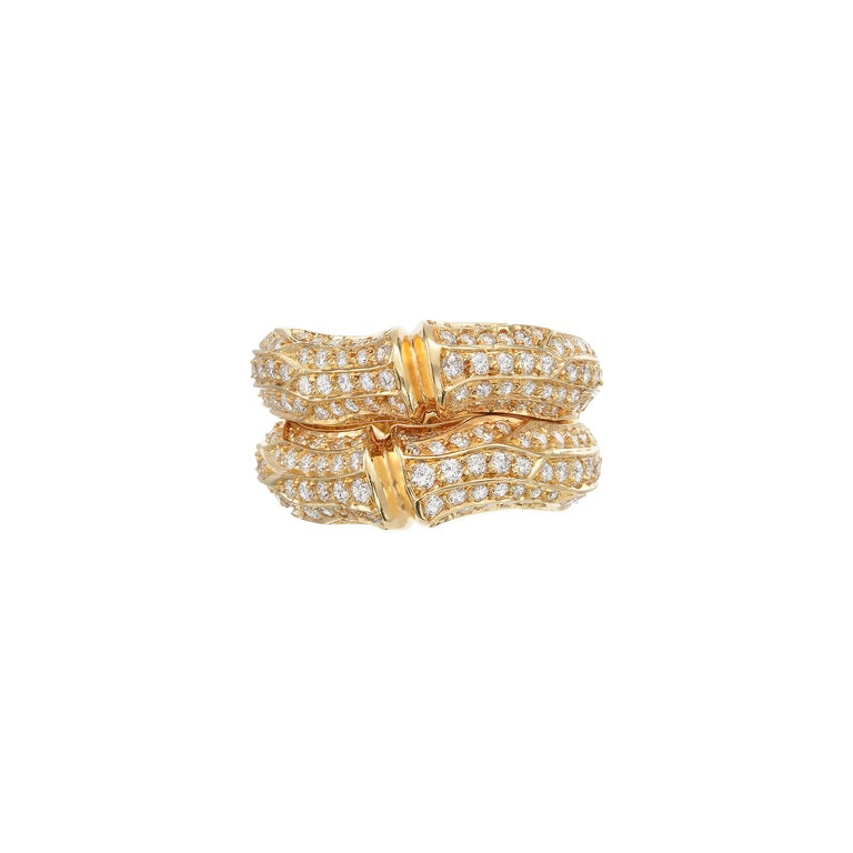 Cartier 37cts Diamond Bamboo Suite in 18K Gold Necklace Bracelet Earrings Ring For Sale 10