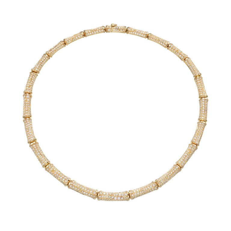 Cartier 37cts Diamond Bamboo Suite in 18K Gold Necklace Bracelet Earrings Ring For Sale 1