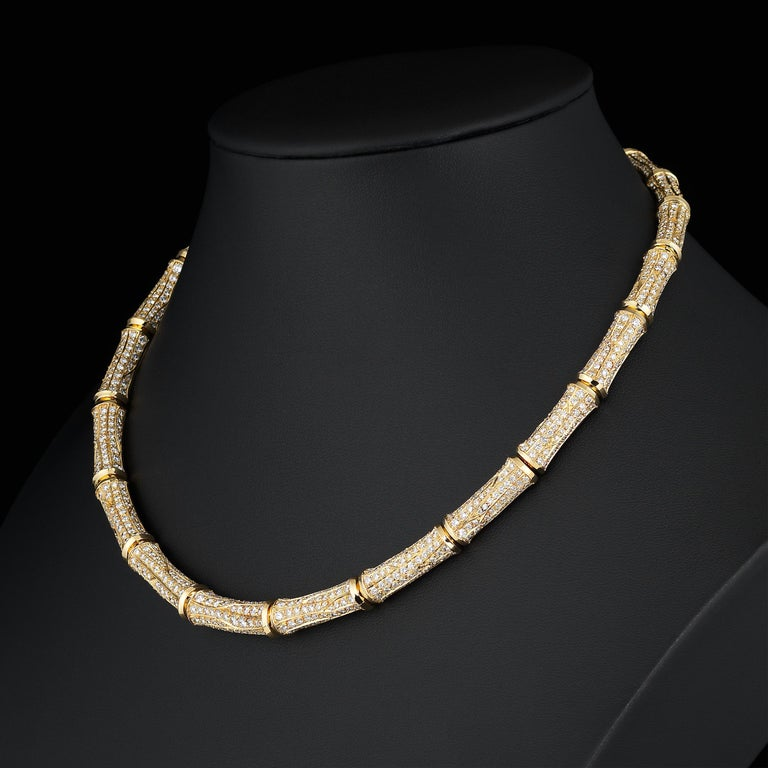 Cartier 37cts Diamond Bamboo Suite in 18K Gold Necklace Bracelet Earrings Ring For Sale 3