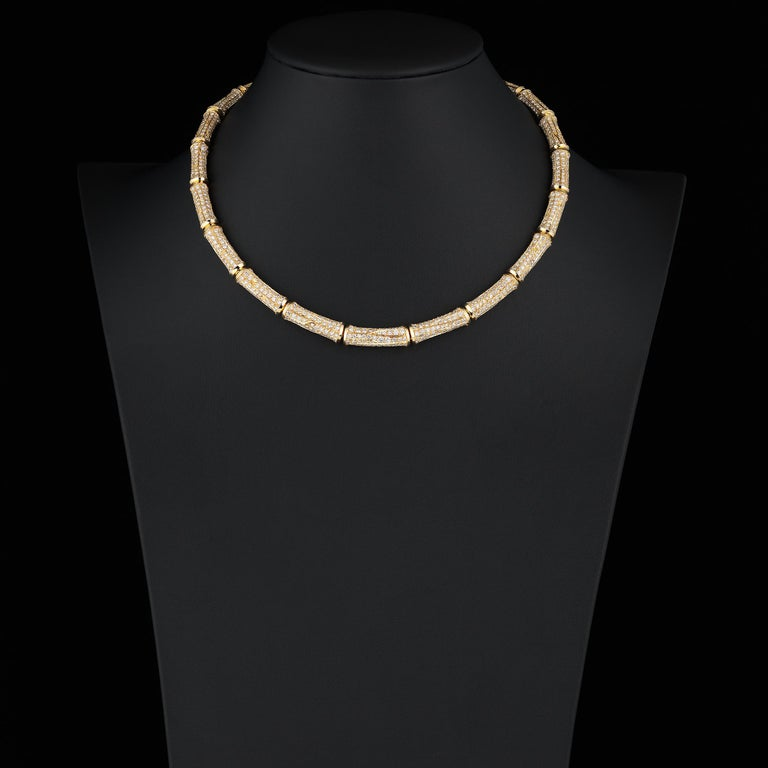 Cartier 37cts Diamond Bamboo Suite in 18K Gold Necklace Bracelet Earrings Ring For Sale 4