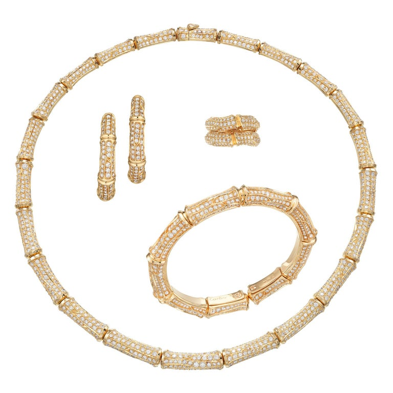 Cartier 37cts Diamond Bamboo Suite in 18K Gold Necklace Bracelet Earrings Ring For Sale