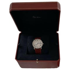 Cartier 3939 Steel Auto Ivory Roman Dial Ronde Solo De Cartier Watch with Box
