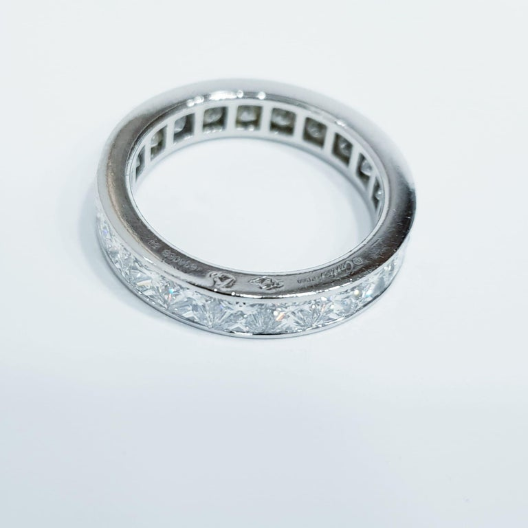 Authentic Cartier 4 Carats Diamond Eternity Platinum Band Ring.  Size 7 USA not resizable.