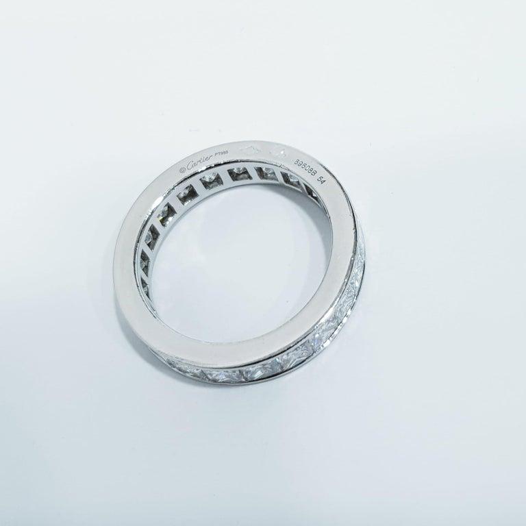 Princess Cut Cartier 4 Carat Diamond Eternity Platinum Band Ring For Sale