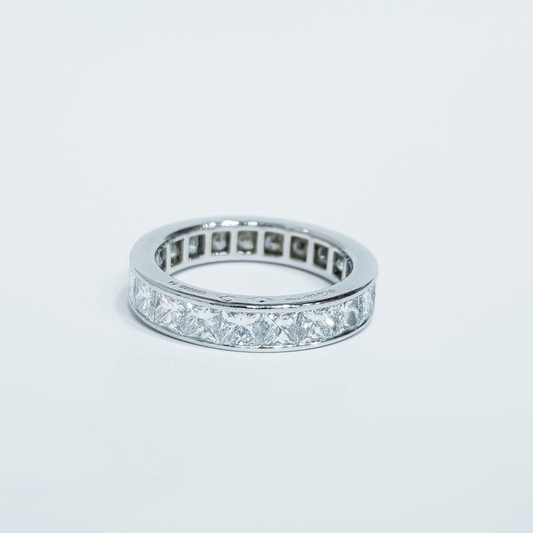 Cartier 4 Carat Diamond Eternity Platinum Band Ring In Excellent Condition For Sale In Rome, IT