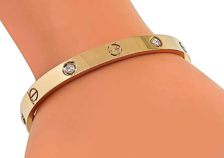 Cartier 4 Diamond Rose Gold Love Bangle In Good Condition For Sale In New York, NY