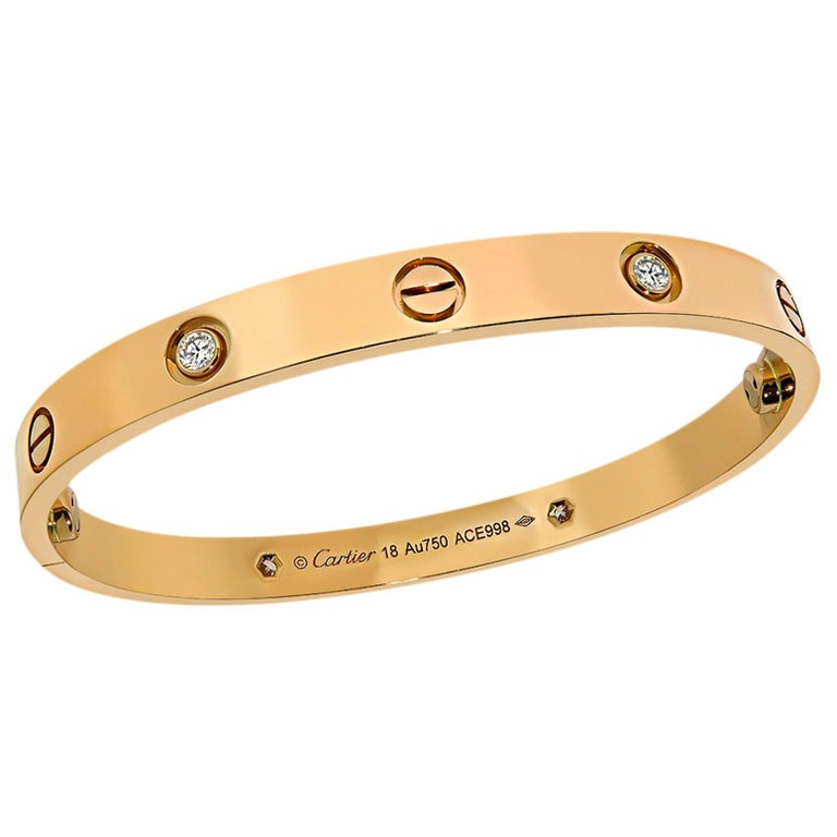 Cartier 4 Diamond Rose Gold Love Bangle For Sale