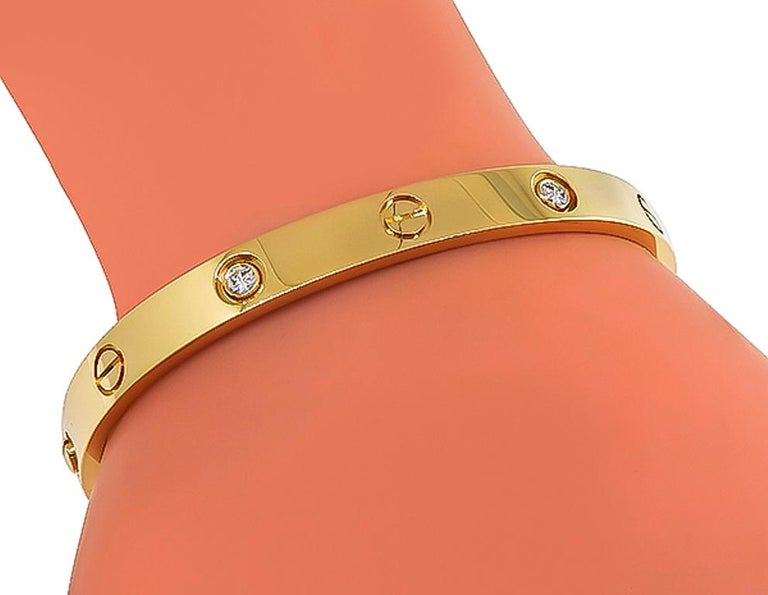 Round Cut Cartier 4-Diamond Yellow Gold Love Bangle For Sale