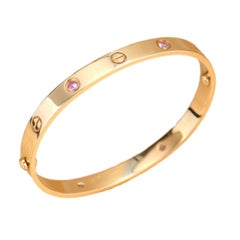 Cartier 4 Pink Sapphire Love Bracelet in Rose Gold