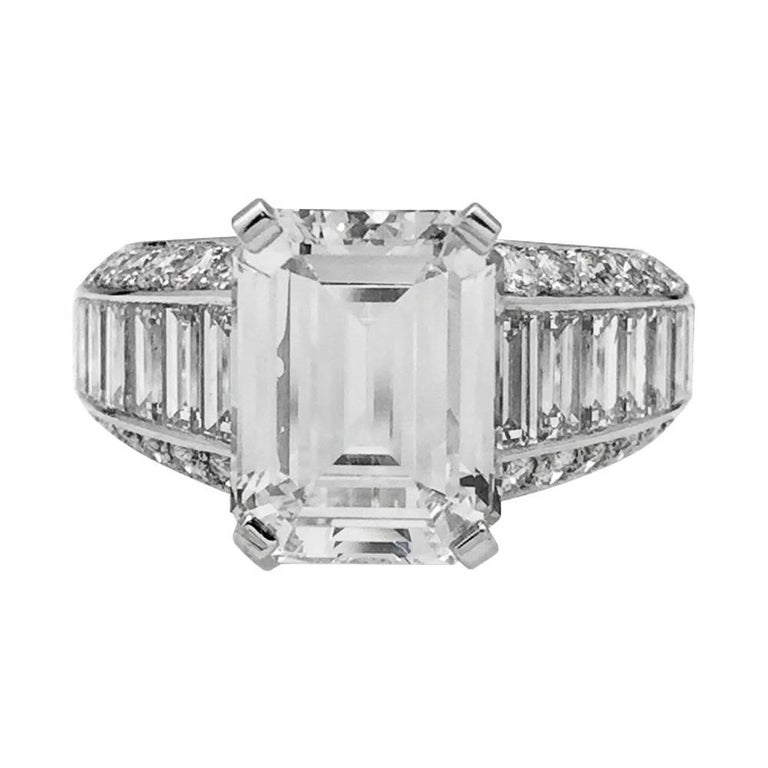 Cartier 4 02 Carat Emerald Cut Diamond Ring For Sale
