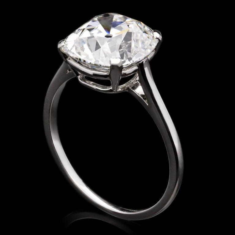 Cartier, 4.21carat E VS1 Old Mine Cushion Cut Diamond Solitaire Ring, circa 1920 For Sale 1