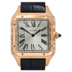 Cartier 4307 Santos Dumont XL 18k Rose Gold Silver Roman Dial Watch