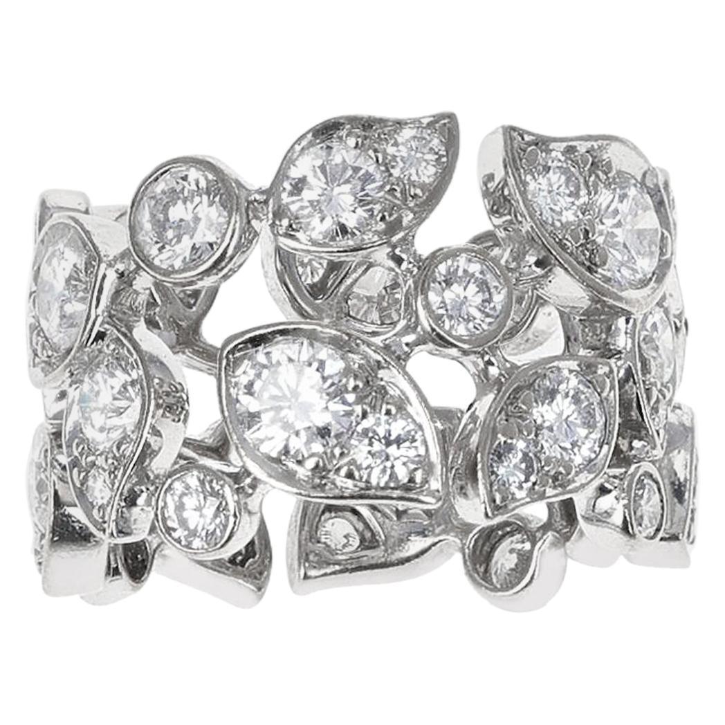 Cartier 5 Carat Diamond Leaf Ring, 18K White Gold
