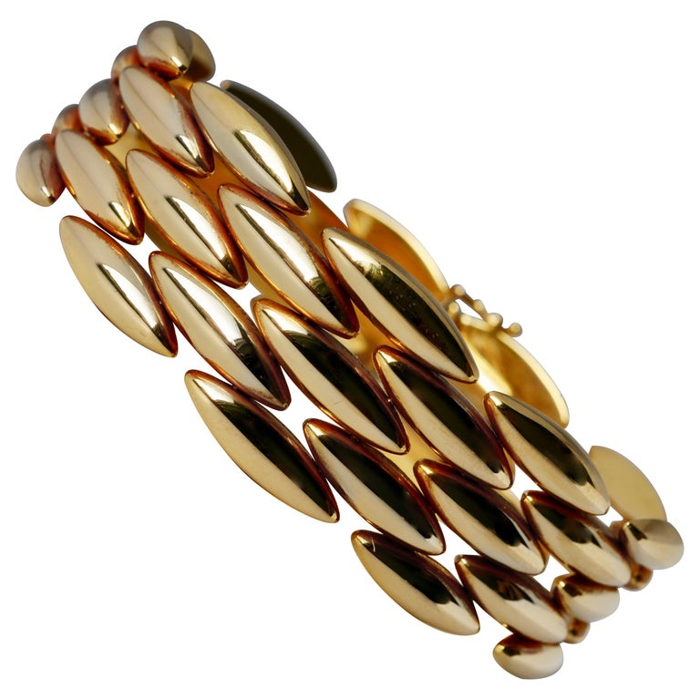 Cartier 5-Row 18 Karat Yellow Gold Link Bracelet Gentiane 'rice' Collection For Sale