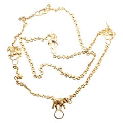Cartier 5 Safari Charm Link Yellow Gold Necklace