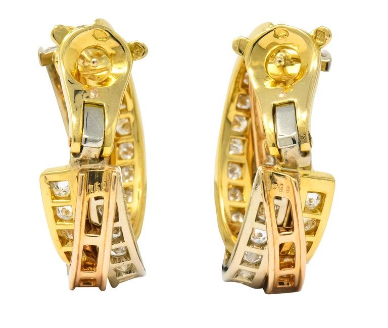 Round Cut Cartier 5.00 Carat Round Brilliant Diamond 18 Karat Tri-Gold Trinity Earrings For Sale