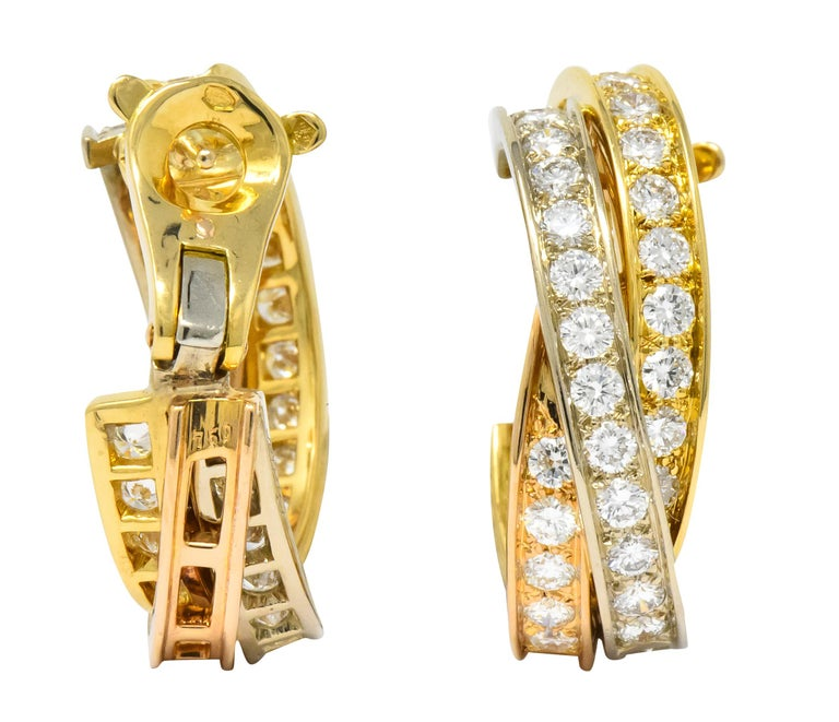 Cartier 5.00 Carat Round Brilliant Diamond 18 Karat Tri-Gold Trinity Earrings In Excellent Condition For Sale In Philadelphia, PA