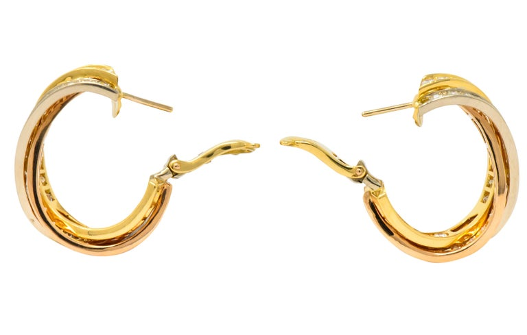 Women's or Men's Cartier 5.00 Carat Round Brilliant Diamond 18 Karat Tri-Gold Trinity Earrings For Sale