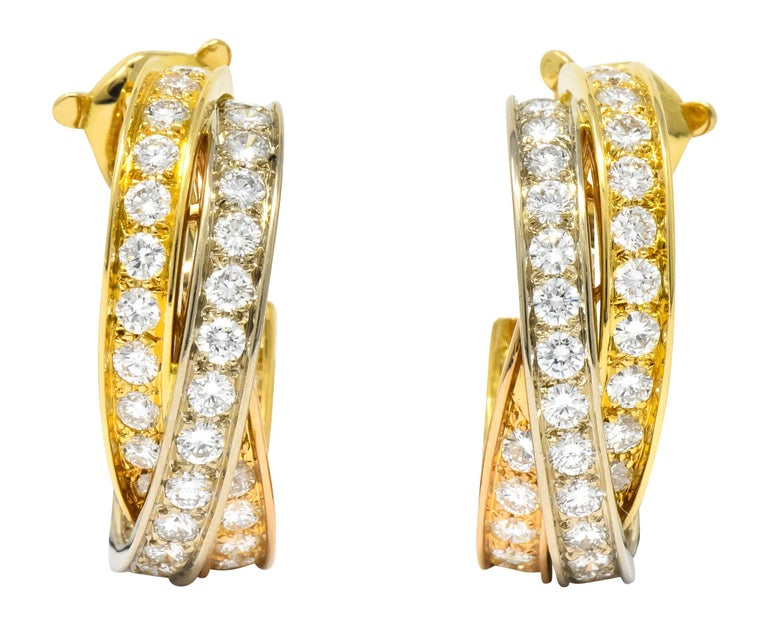 Cartier 5.00 Carat Round Brilliant Diamond 18 Karat Tri-Gold Trinity Earrings For Sale
