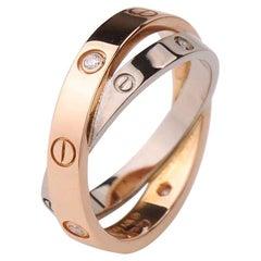 Cartier 6 Diamond Rose Gold White Gold Love Ring