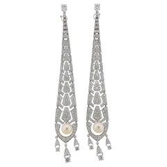 Cartier 6.35 Carat Diamond Pearl Gold Drop Earrings