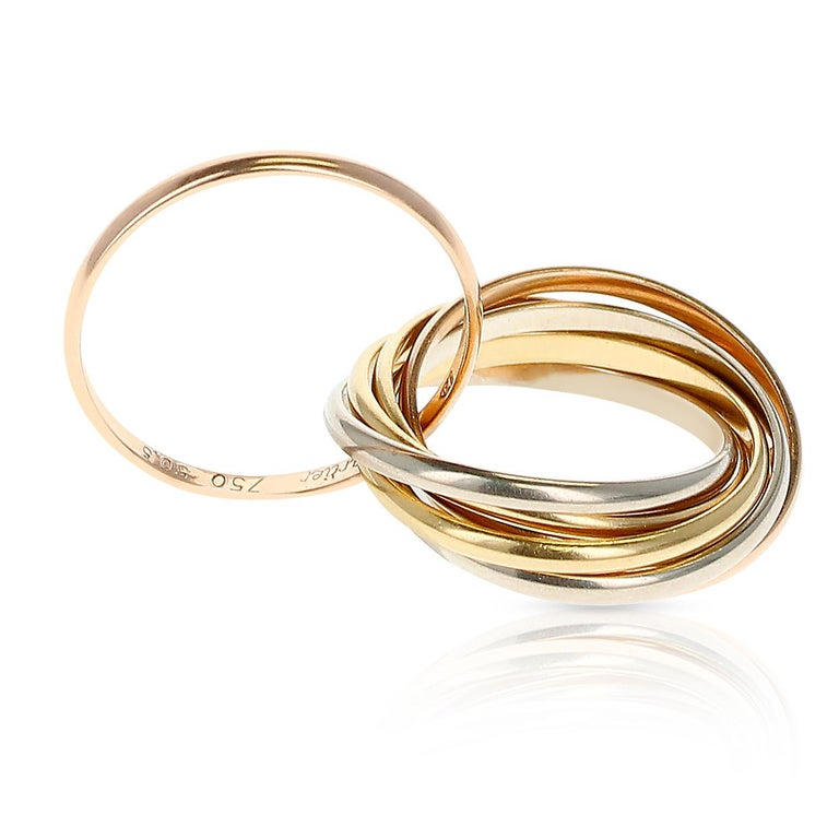 Cartier 7 Band Rolling Ring, 18 Karat Rose, White and Yellow Gold In Excellent Condition For Sale In New York, NY