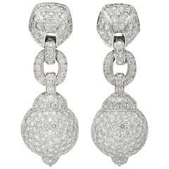 Cartier 7.50 Carat Diamond 18 Karat White Gold Vintage Drop Ear-Clip Earrings