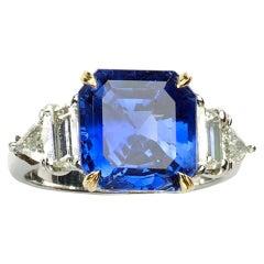 Cartier 7.51 Carat GIA Certified Burma Sapphire Diamond Gold Platinum Ring