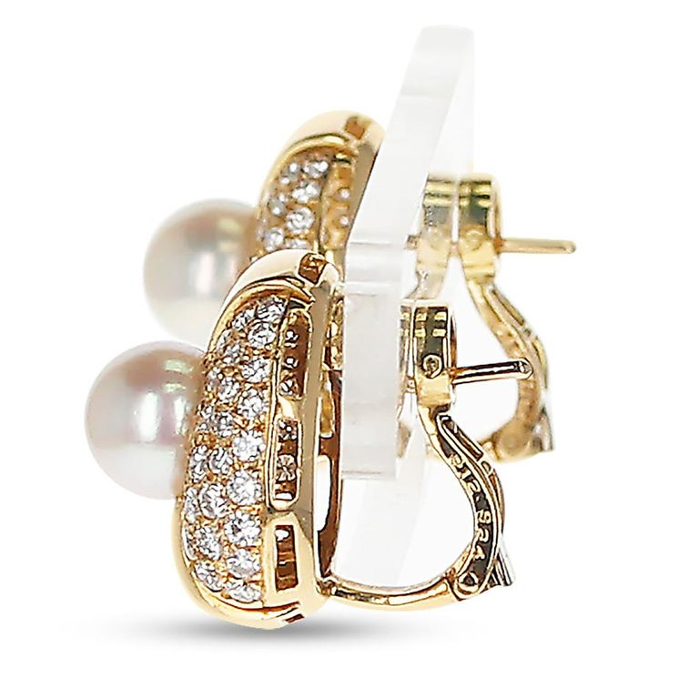 Round Cut Cartier Pearl and Diamond Oval-Shape Earrings, 18 Karat Yellow Gold For Sale