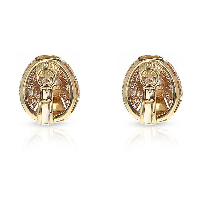 Women's or Men's Cartier Pearl and Diamond Oval-Shape Earrings, 18 Karat Yellow Gold For Sale