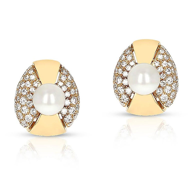 Cartier Pearl and Diamond Oval-Shape Earrings, 18 Karat Yellow Gold For Sale 1