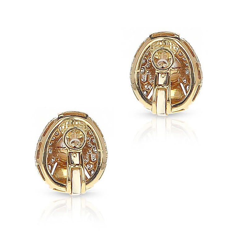 Cartier Pearl and Diamond Oval-Shape Earrings, 18 Karat Yellow Gold For Sale 2