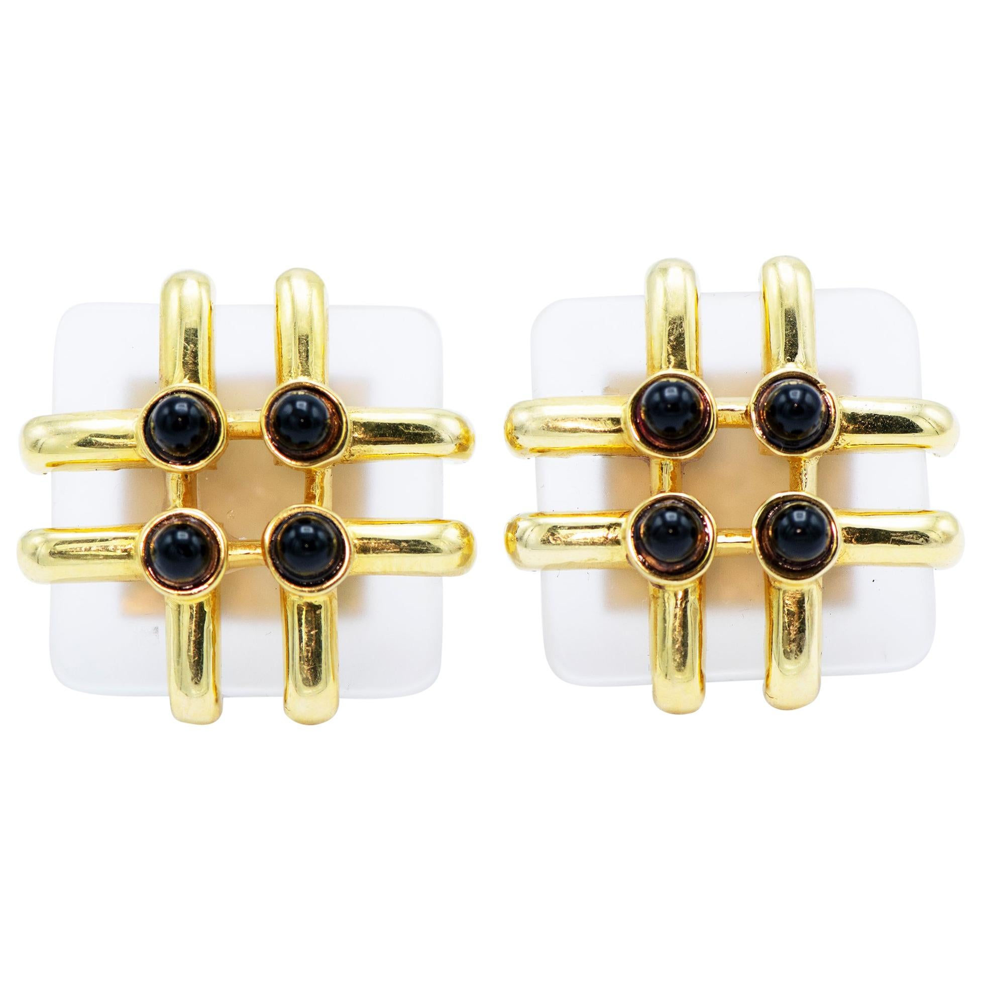 Cartier, A. Cipullo 18 Karat Yellow Gold Rock Crystal and Onyx
