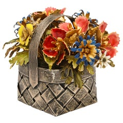 Cartier, a Sterling Silver and Enamel Table Ornament Basket