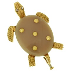 Cartier Agate Diamond Yellow Gold Turtle Brooch
