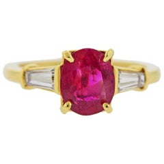 Cartier AGL 1.58 Carat No Heat Ruby Diamond Gold Ring