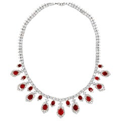 Cartier AGL Certified Ruby Diamond Necklace