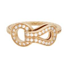 Cartier Agrafe 18k Yellow Gold Diamond Ladies Ring 0.23cttw